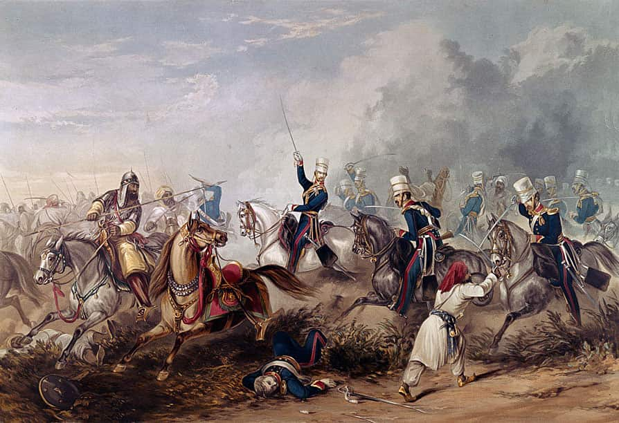 Captain Unett leading the 'Greys' Squadron of the 3rd King's Own Light Dragoons at the Battle of Chillianwallah on 13th January 1849 during the Second Sikh War