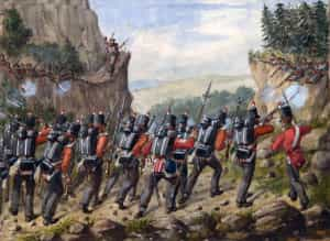 British troops in action in the mountains: Battle of San Millan and Osma on 18th June 1813 in the Peninsular War: picture by Richard Simkin