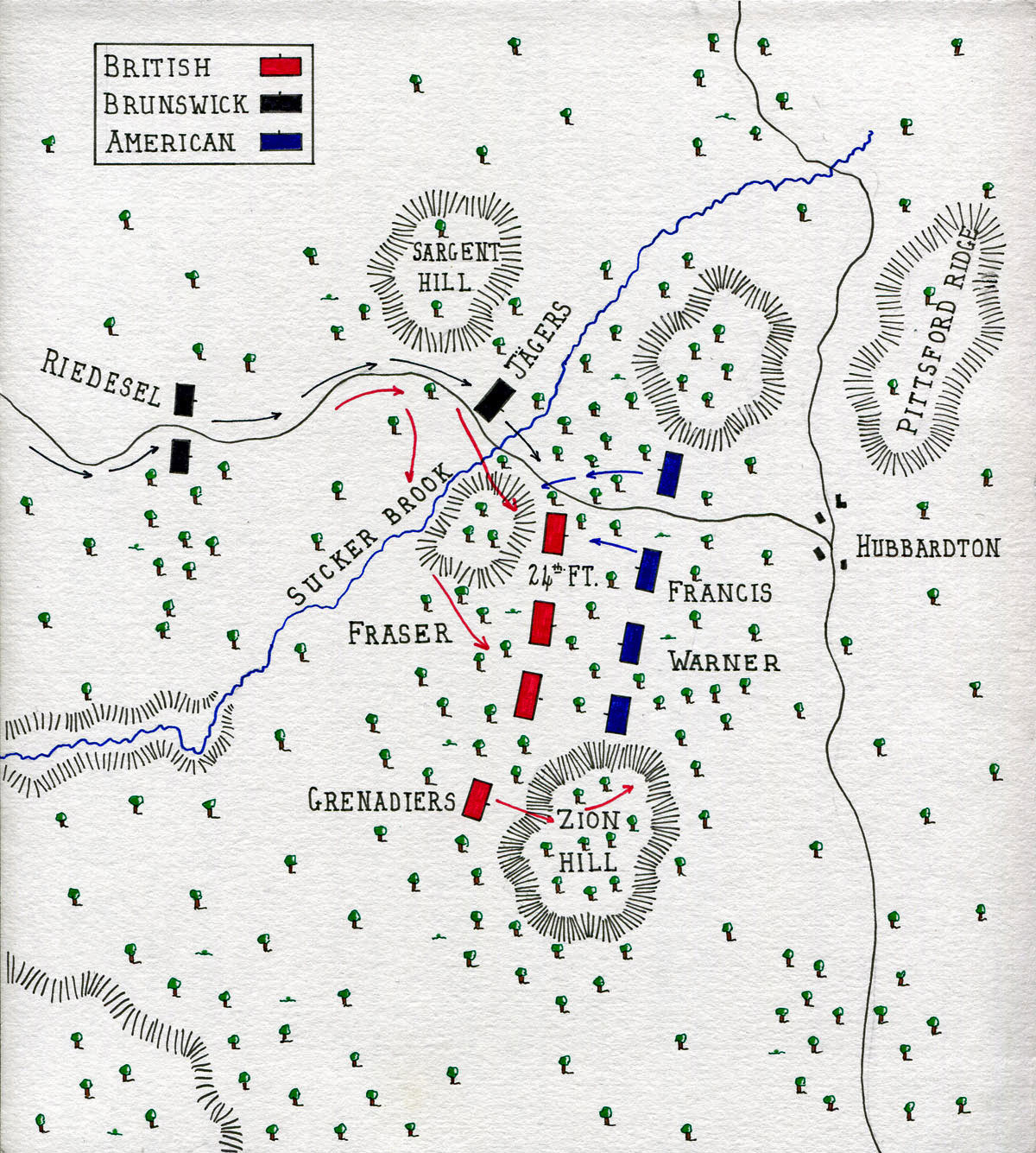 Map of the Battle of Hubbardton on 7th July 1777 in the American Revolutionary War: map by John Fawkes