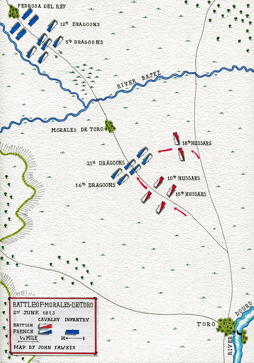 Map of the Battle of Morales de Toro on 2nd June 1813: map by John Fawkes