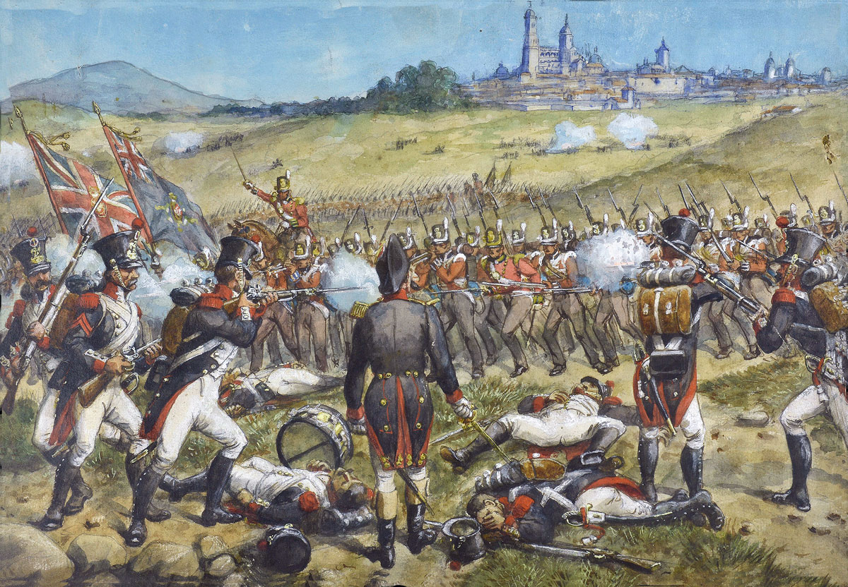 French infantry attacked by British infantry at the Battle of Salamanca on 22nd July 1812 during the Peninsular War, also known as the Battle of Los Arapiles or Les Arapiles: picture by Richard Simkin