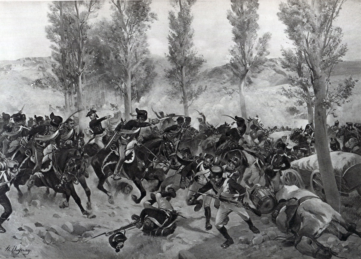 British Hussars attack the French baggage train in the Battle of Vitoria on 21st June 1813 during the Peninsular War: picture by Henri Dupray