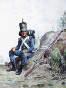 Portuguese infantry soldier: Battle of Vitoria on 21st June 1813 during the Peninsular War