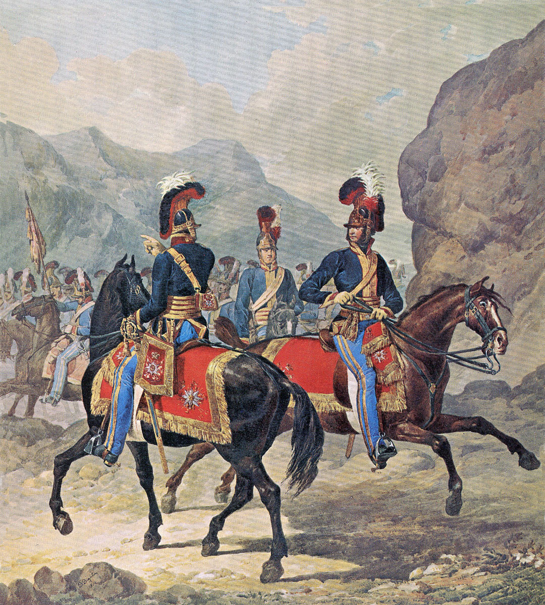 Royal Horse Guards in Spain: Battle of Vitoria on 21st June 1813 during the Peninsular War: picture by Denis Dighton