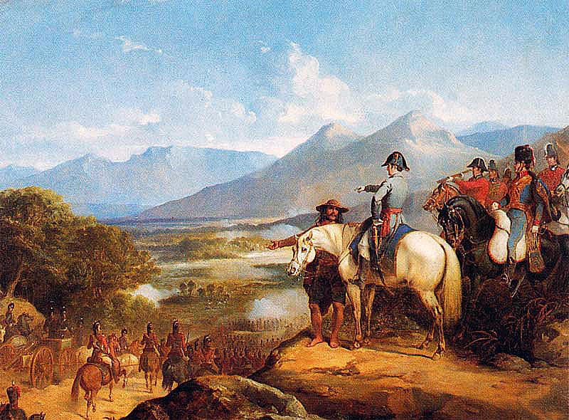 Lord Wellington at the Battle of Vitoria on 21st June 1813 during the Peninsular War: picture by Thomas Jones Barker