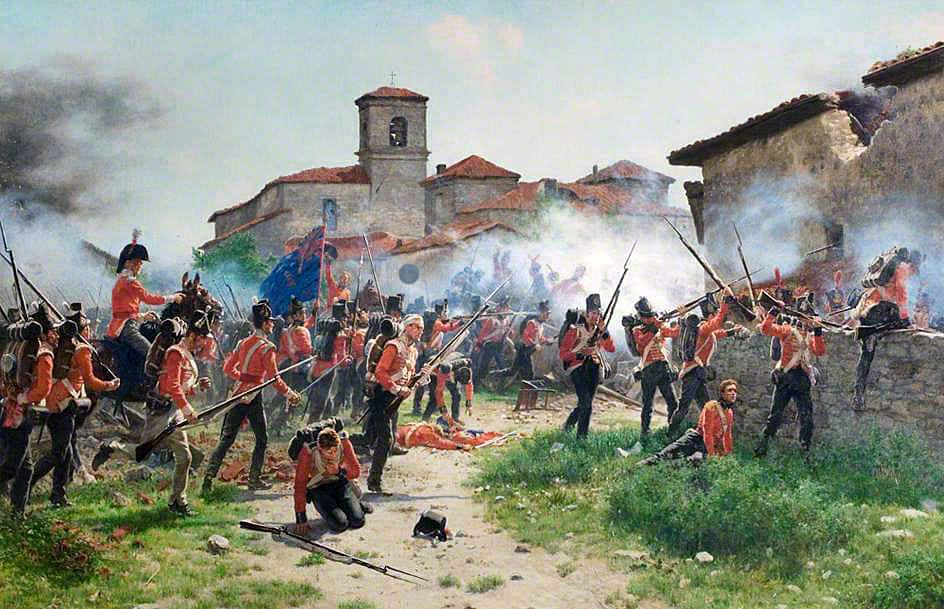 4th, 47th and 69th Regiments storming Gamarra Mayor at the Battle of Vitoria on 21st June 1813 in the Peninsular War: picture by JP Beadle