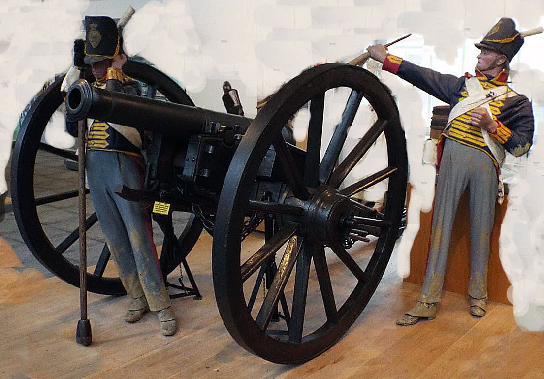 British 6 pounder cannon in action: Battle of Vitoria on 21st June 1813 in the Peninsular War: Firepower Museum