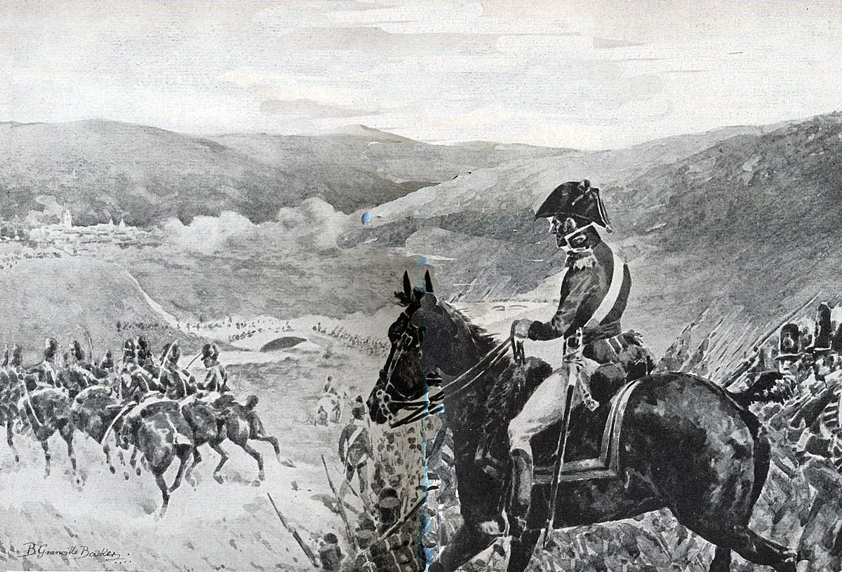 Wellington at the Battle of Vitoria on 21st June 1813 during the Peninsular War: picture by R. Granville Baker