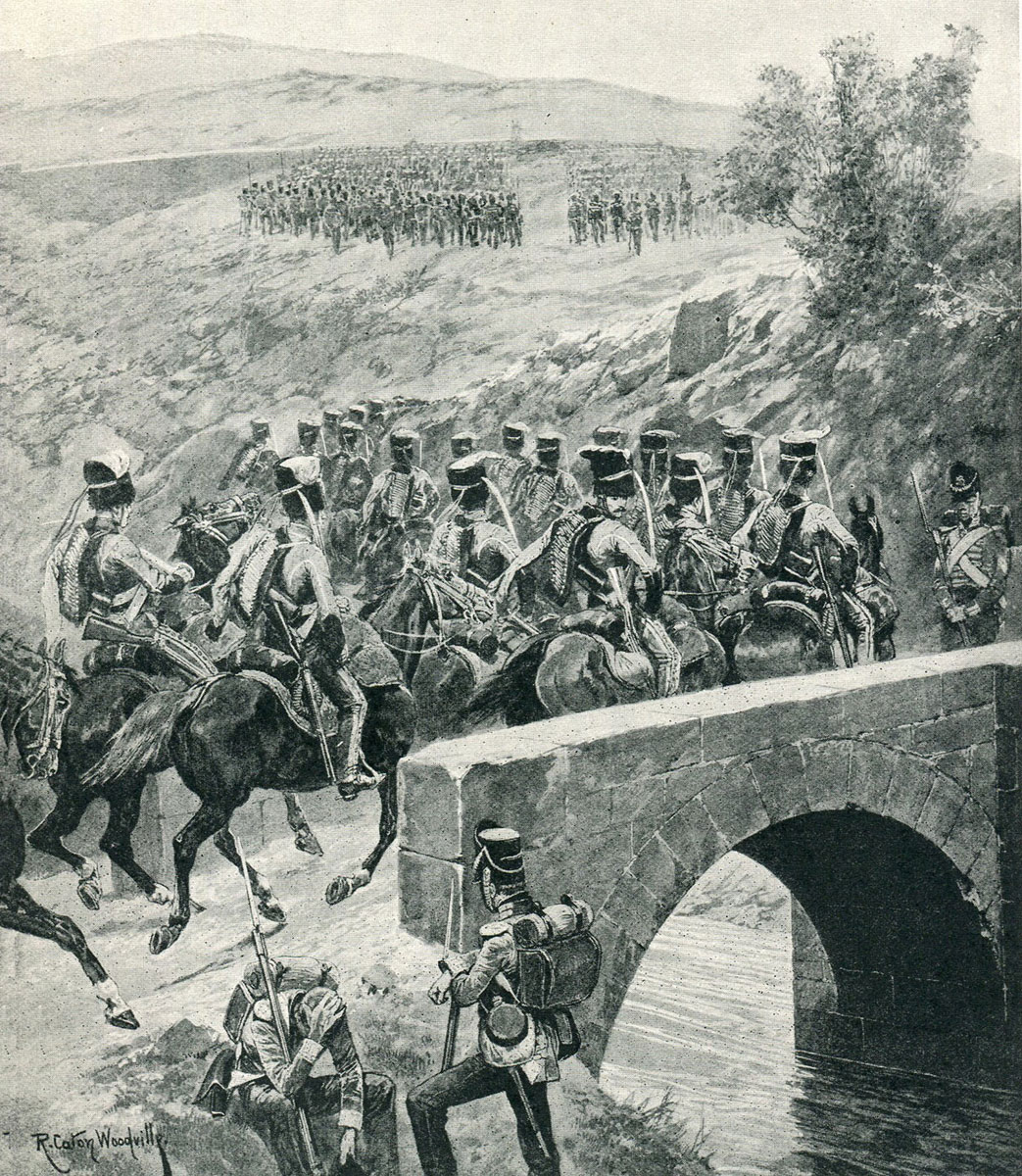 15th King's Light Dragoons (15th Hussars) crossing the bridge at Tres Puentes in the Battle of Vitoria on 21st June 1813 during the Peninsular War: picture by Richard Caton Woodville