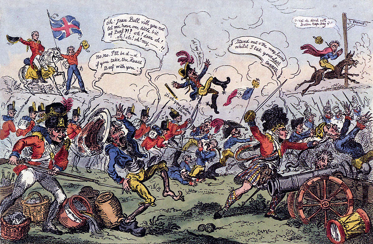 Cartoon by Cruikshank commemorating the Battle of Vitoria on 21st June 1813 during the Peninsular War