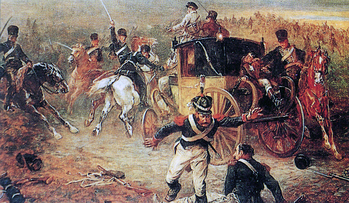 14th Light Dragoons capturing Joseph Bonaparte's baggage: Battle of Salamanca on 22nd July 1812 during the Peninsular War