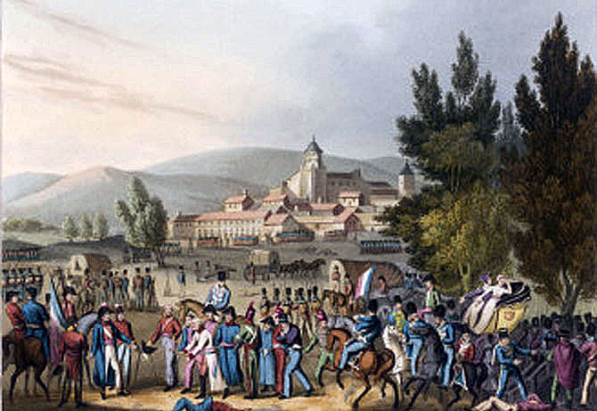 French prisoners after the Battle of Vitoria on 21st June 1813 during the Peninsular War