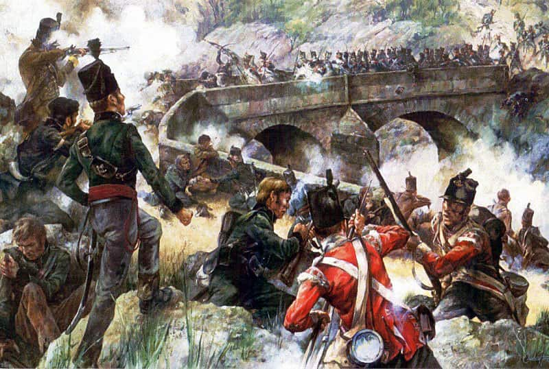 British 47th Regiment and 95th Rifles defending the bridge at Puenta Larga on 30th October 1812 during the Peninsular War