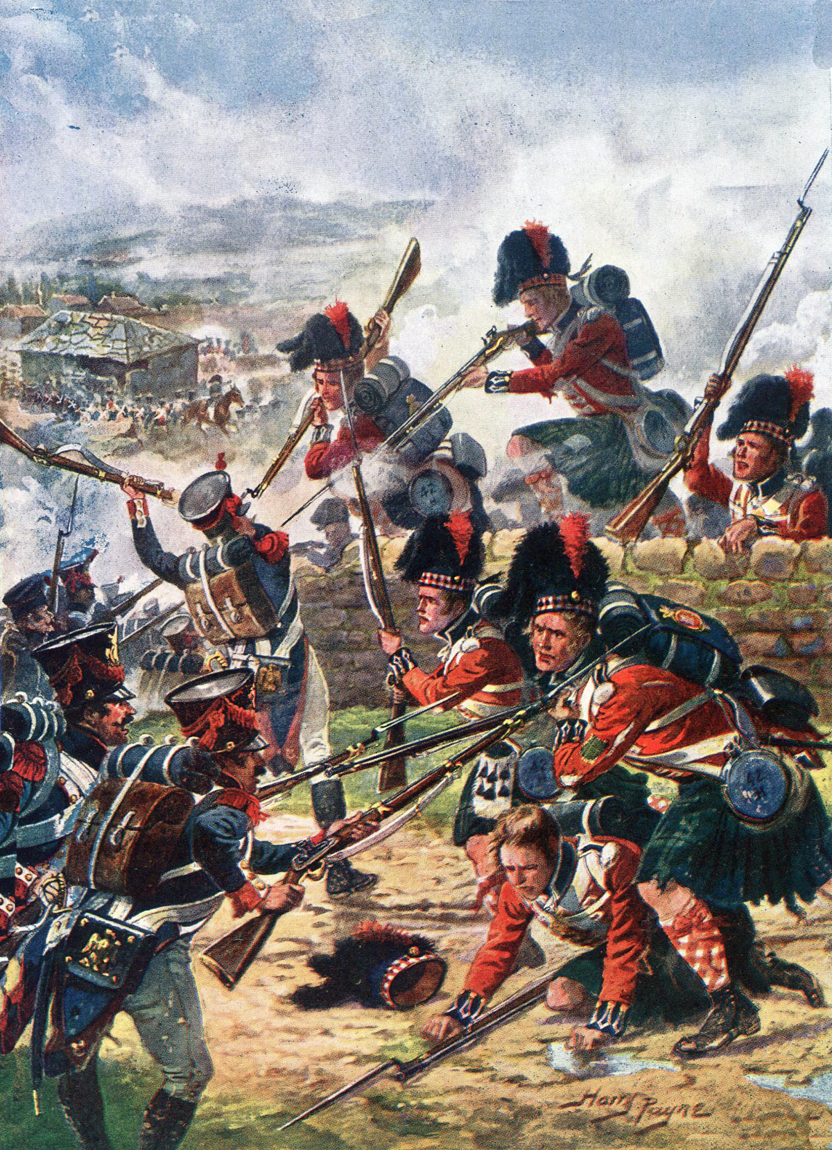 42nd Highlanders the Black Watch at the Battle of Corunna on 16th January 1809 in the Peninsular War: picture by Harry Payne