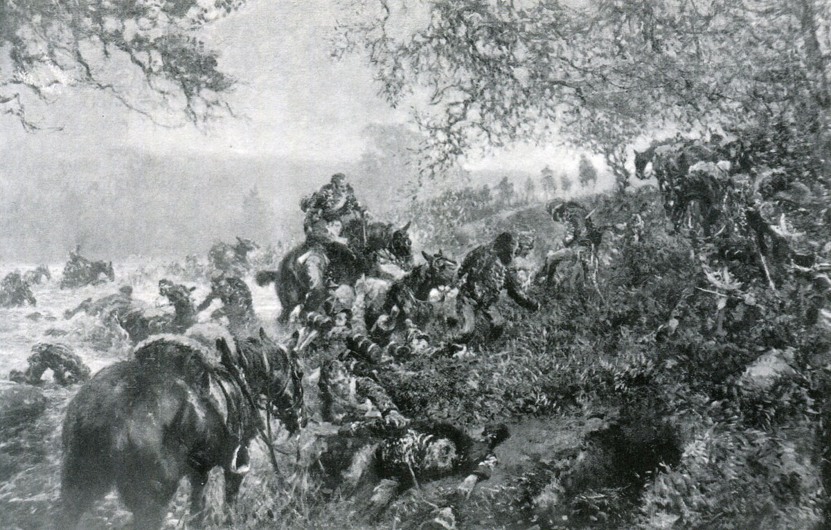 British Cavalry and Infantry crossing the River Esla on 31st May 1813: Battle of Morales de Toro on 2nd June 1813 during the Peninsular War