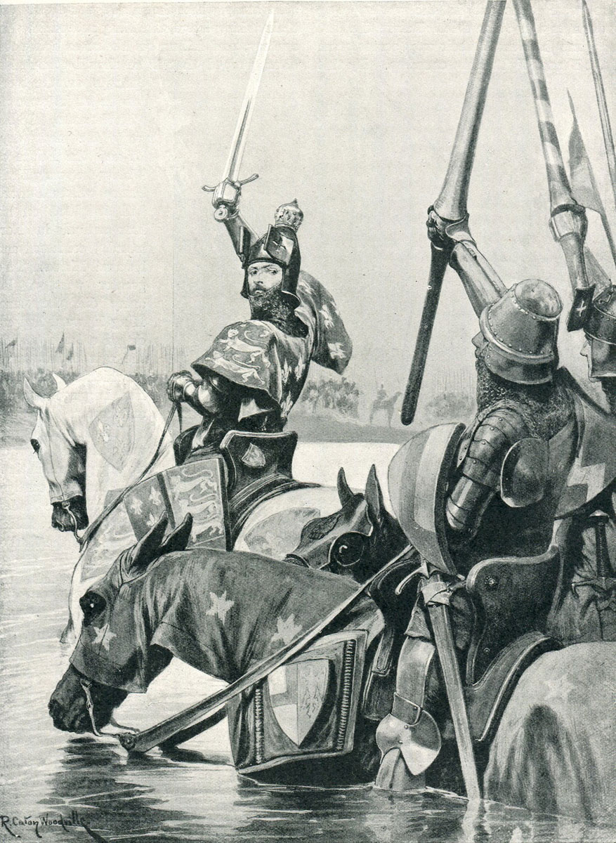 King Edward III crossing the River Somme before the Battle of Creçy on 26th August 1346 in the Hundred Years War: picture by Richard Caton Woodville