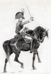 King's German Legion Dragoon: Battle of Venta del Pozo and Villodrigo on 23rd October 1812 in the Peninsular War: picture by Richard Caton Woodville