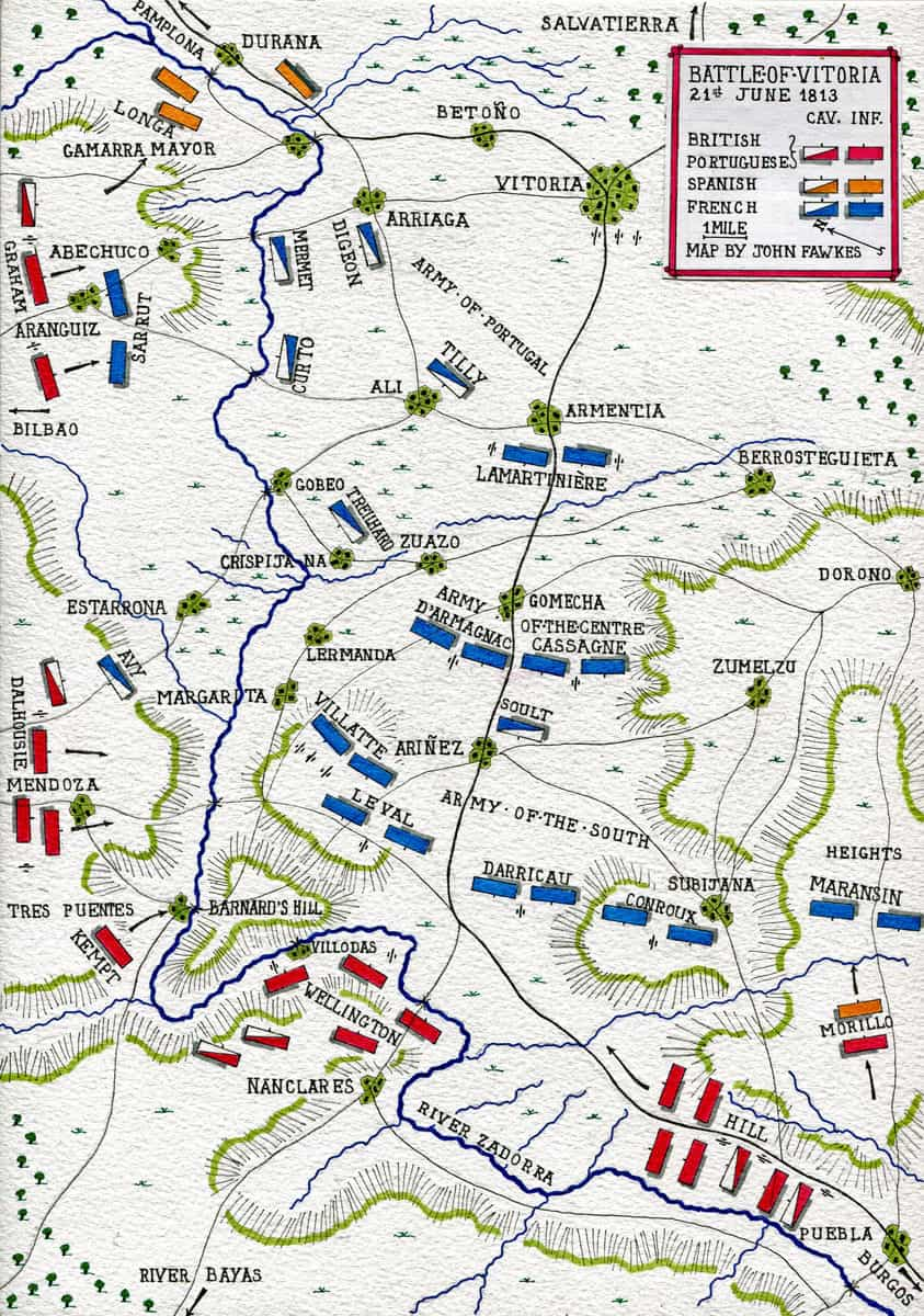 Map of the Battle of Vitoria on 21st June 1813 during the Peninsular War: map by John Fawkes