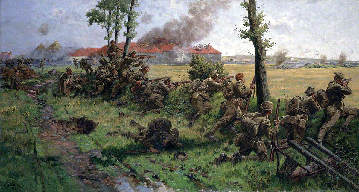 'Our little contemptibles': Battle of Mons on 23rd August 1914 in the First World War: picture by William Barnes Wollen