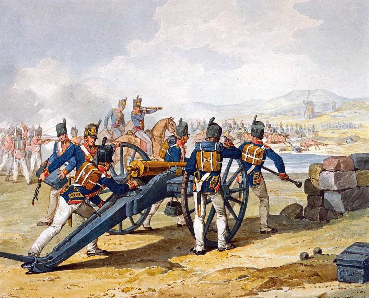 Royal Artillery firing on French Hussars: Retreat from Burgos Autumn 1812 in the Peninsular War: picture by Denis Dighton