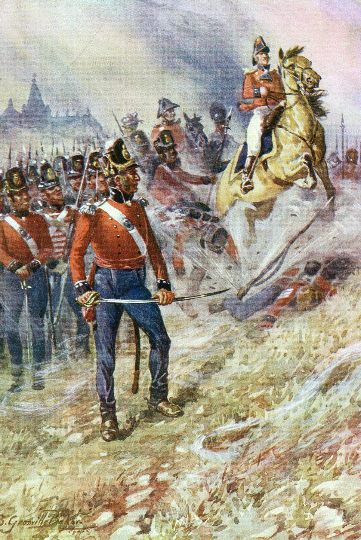 Sir John Moore and the British army at the Battle of Corunna on 16th January 1809 in the Peninsular War: picture by R. Granville Baker
