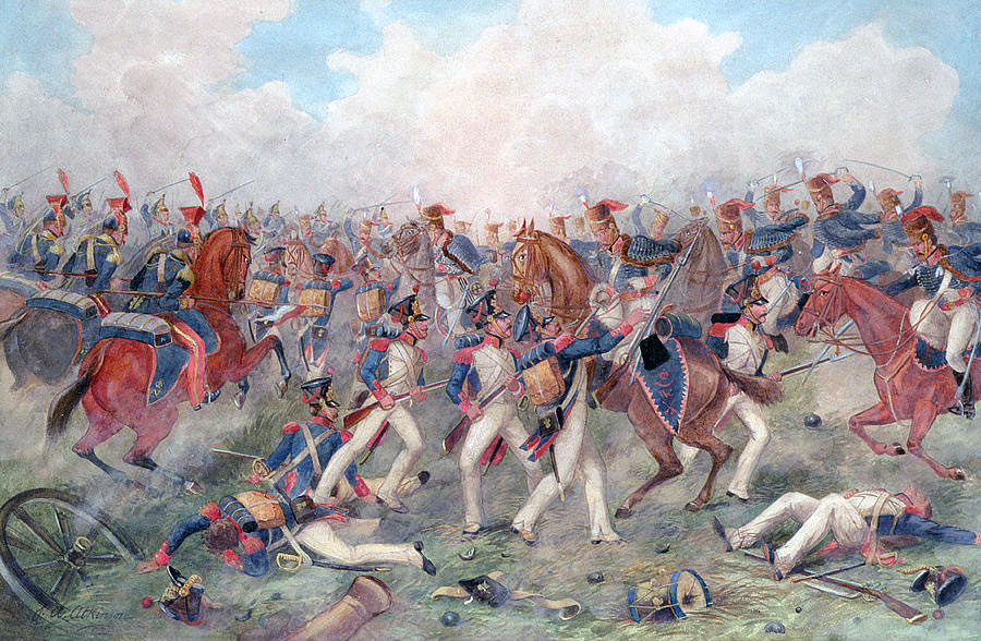 British Hussar Brigade attacks Sarrut's Division at the Battle of Vitoria on 21st June 1813 during the Peninsular War: picture by John Augustus Atkinson