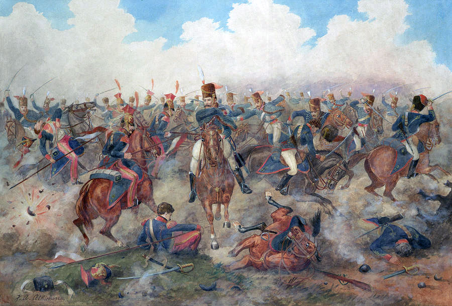 British Hussar Brigade repels Digeon's Division at the Battle of Vitoria on 21st June 1813 during the Peninsular War: picture by John Augustus Atkinson