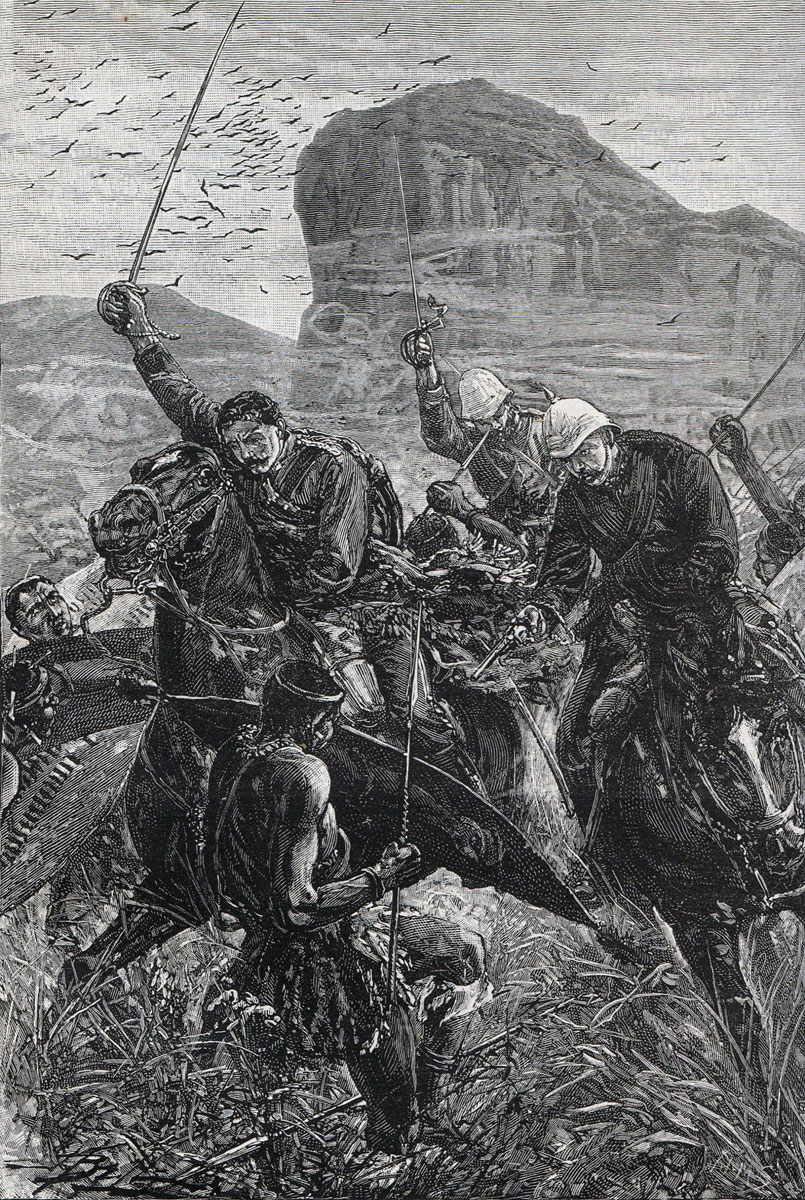 Attempted escape of Lieutenants Melville and Coghill with the Queen's Colour of the 24th Regiment at the Battle of Isandlwana on 22nd January 1879 in the Zulu War