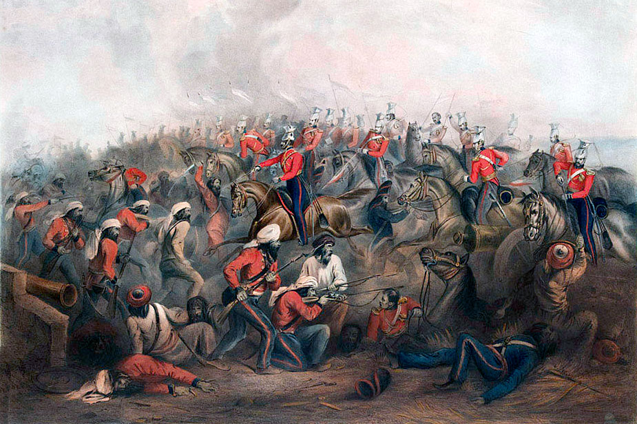 HM 16th Lancers at the Battle of Aliwal on 28th January 1846 in the First Sikh War: picture by Henry Martens