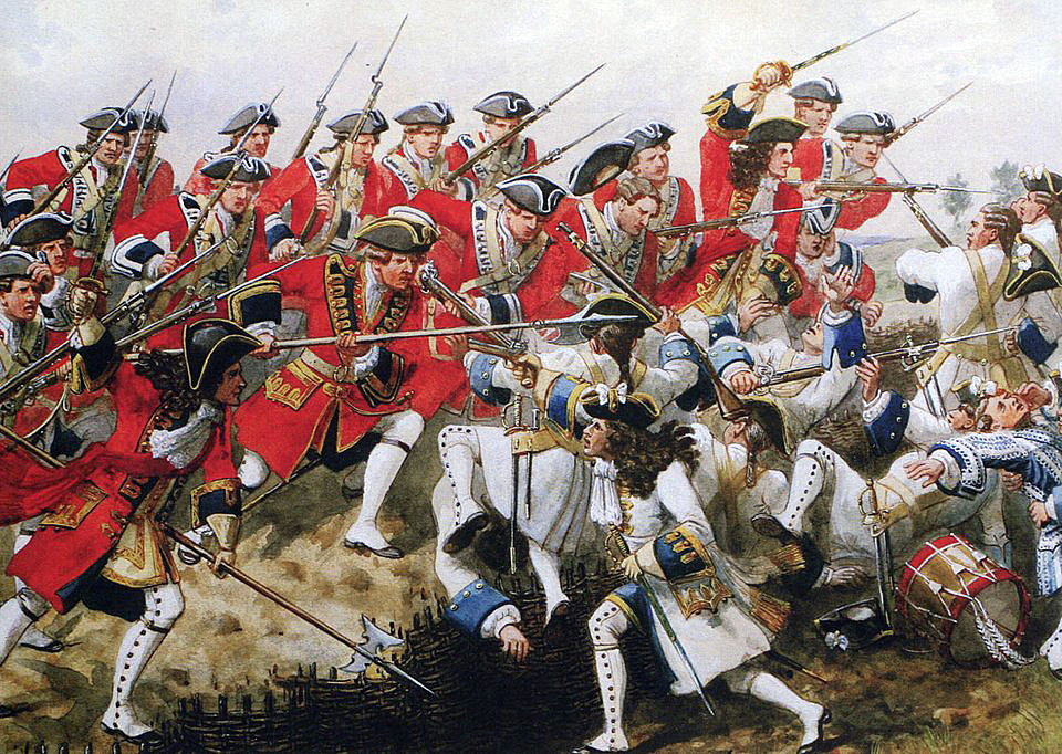 First Foot Guards at the Battle of Malplaquet 11th September 1709 War of the Spanish Succession: picture by Richard Simkin