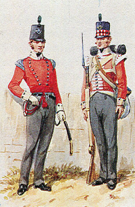 Officer and soldier of the 71st Highland Light Infantry: Battle of Vitoria on 21st June 1813 during the Peninsular War: picture by Richard Simkin