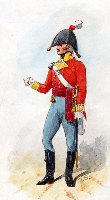 Officer of the 9th East Norfolk Regiment: Storming of San Sebastian between 11th July and 9th September 1813 in the Peninsular War: picture by Richard Simkin