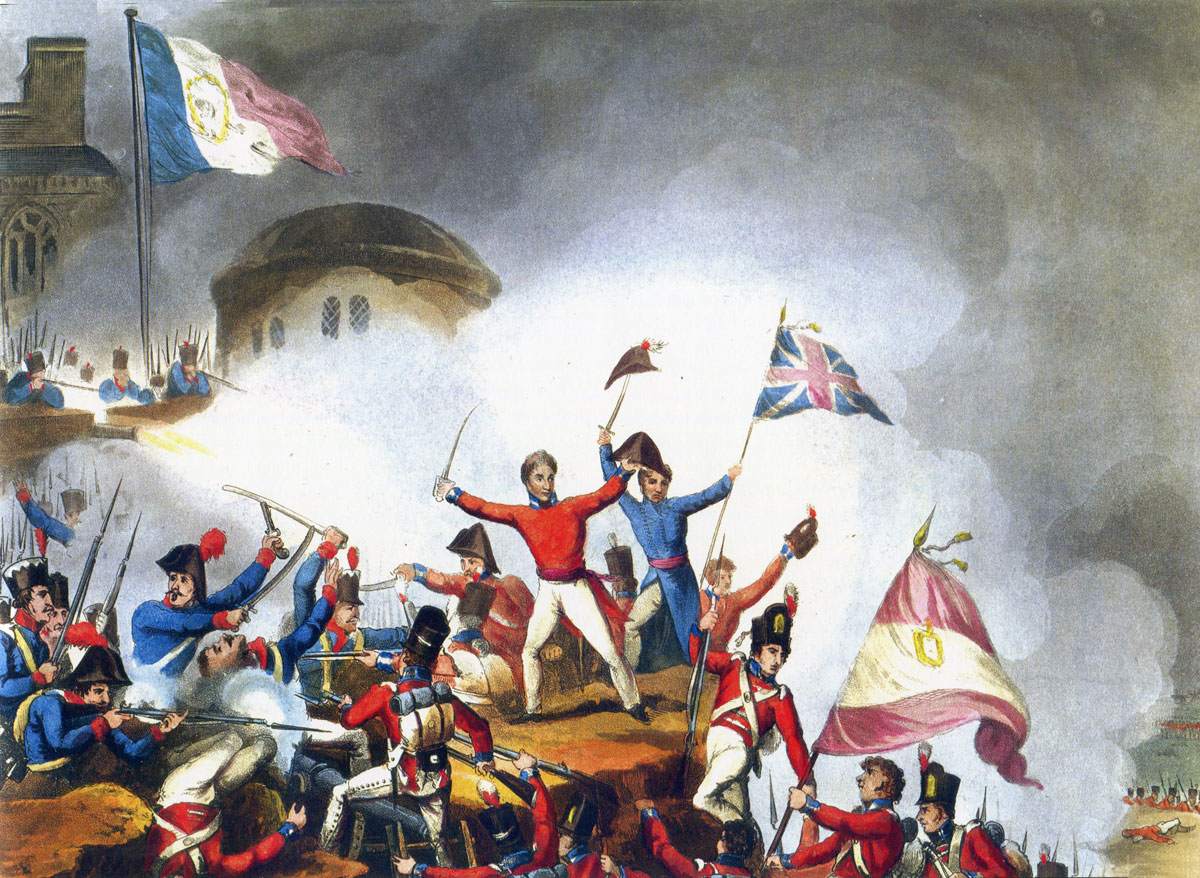 Sir Thomas Picton leads the Third Division in capturing the Castle during the Storming of Badajoz on 6th April 1812 in the Peninsular War: picture by J,J.Jenkins