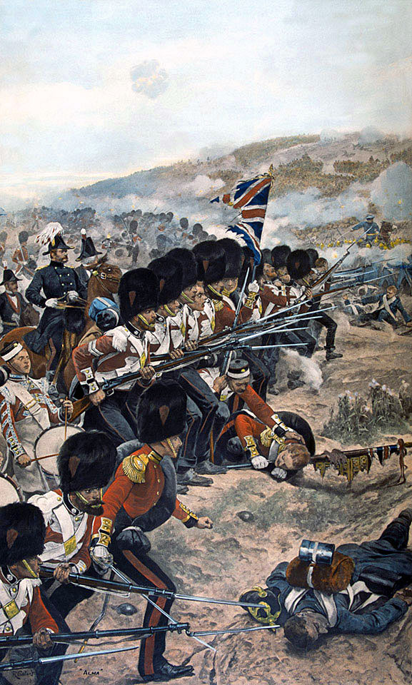 Coldstream Guards at the Battle of the Alma on 20th September 1854 during the Crimean War: picture by Richard Caton Woodville