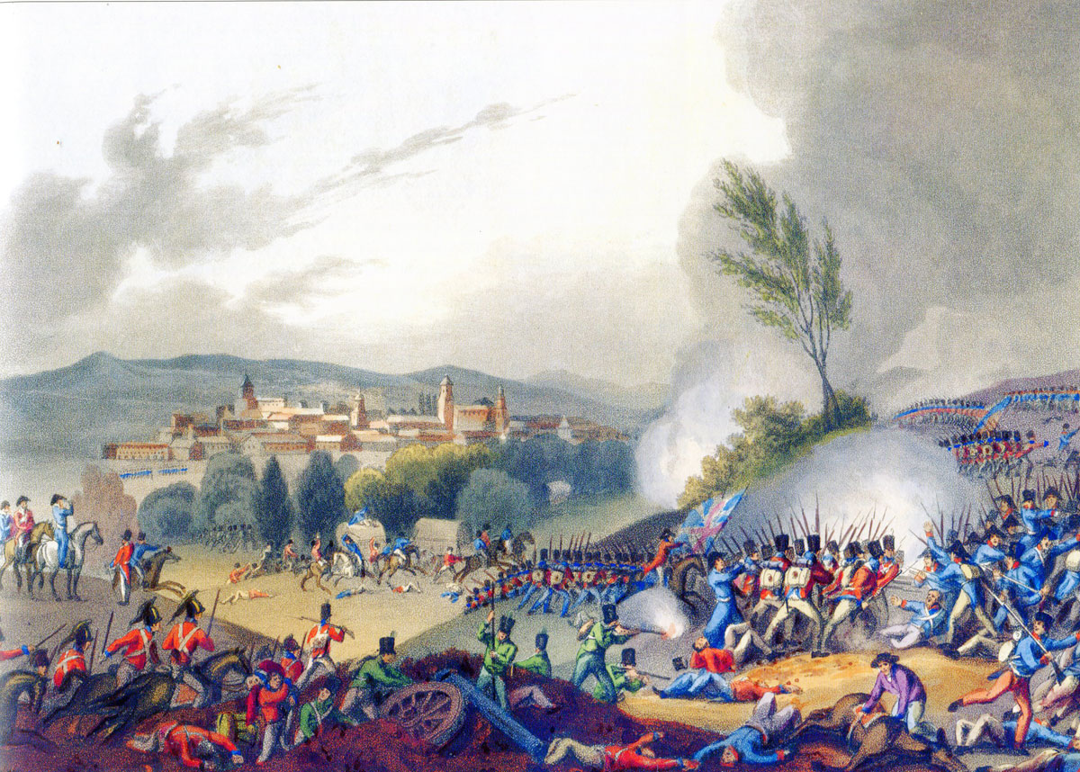 Battle of Vitoria on 21st June 1813 during the Peninsular War: picture by J.J.Jenkins