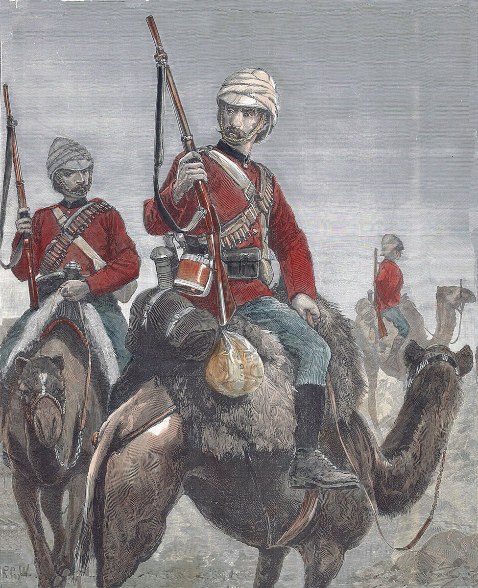 British Camel Corps: Battle of Abu Klea on 17th January 1885 in the Sudanese War: picture by Richard Caton Woodville