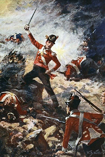 Lieutenant Colin Campbell of the 9th Regiment leading the Forlorn Hope in the First Attack on 25th July 1813 in the Storming of San Sebastian between 11th July and 9th September 1813 in the Peninsular War