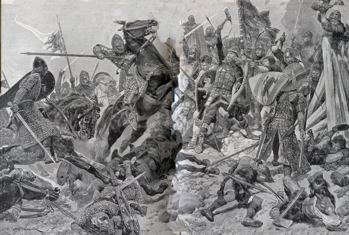 Last Stand of King Harold at the Battle of Hastings on 14th October 1066 in the Norman Invasion: picture by Richard Caton Woodville