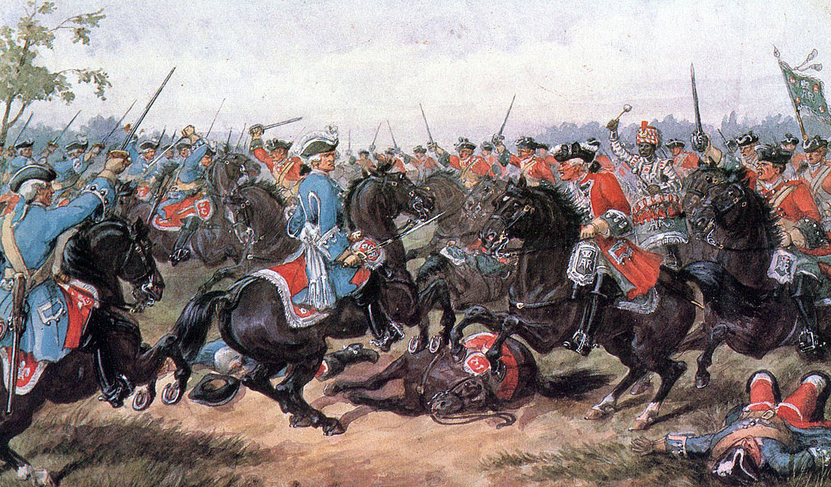 King's Carabiniers at the Battle of Malplaquet 11th September 1709 War of the Spanish Succession: picture by Richard Simkin