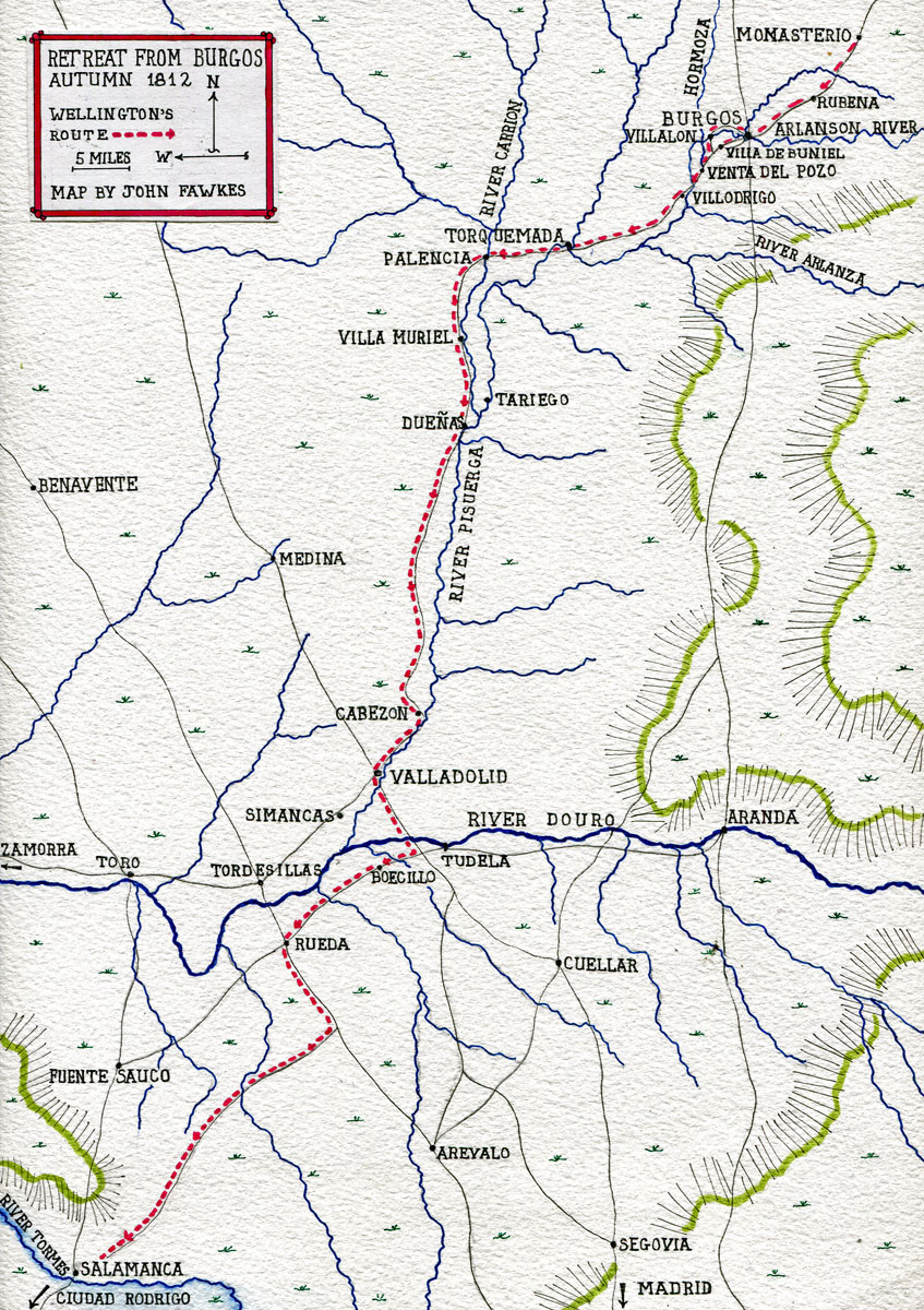 Map of Wellington's retreat from Burgos to Salamanca in the Autumn 1812 in the Peninsular War: map by John Fawkes