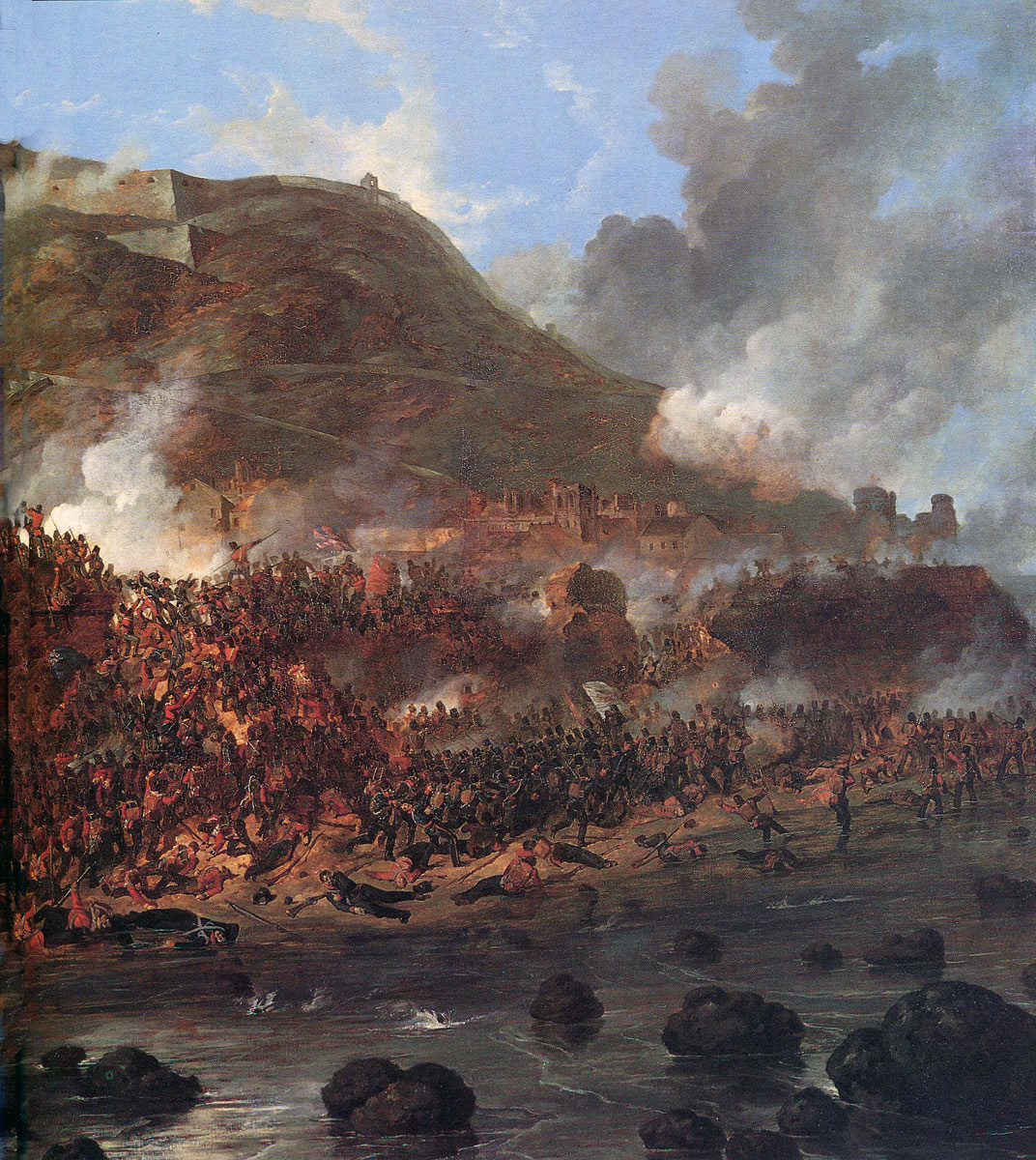 Storming of San Sebastian between 11th July and 9th September 1813 in the Peninsular War: picture by Denis Dighton