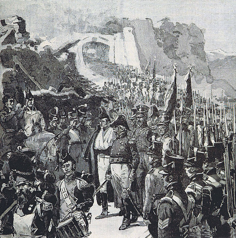 General Rey leads his surviving garrison out of the Castle of La Mota after the French surrender following the Storming of San Sebastian between 11th July and 9th September 1813 in the Peninsular War: picture by William Barnes Wollen