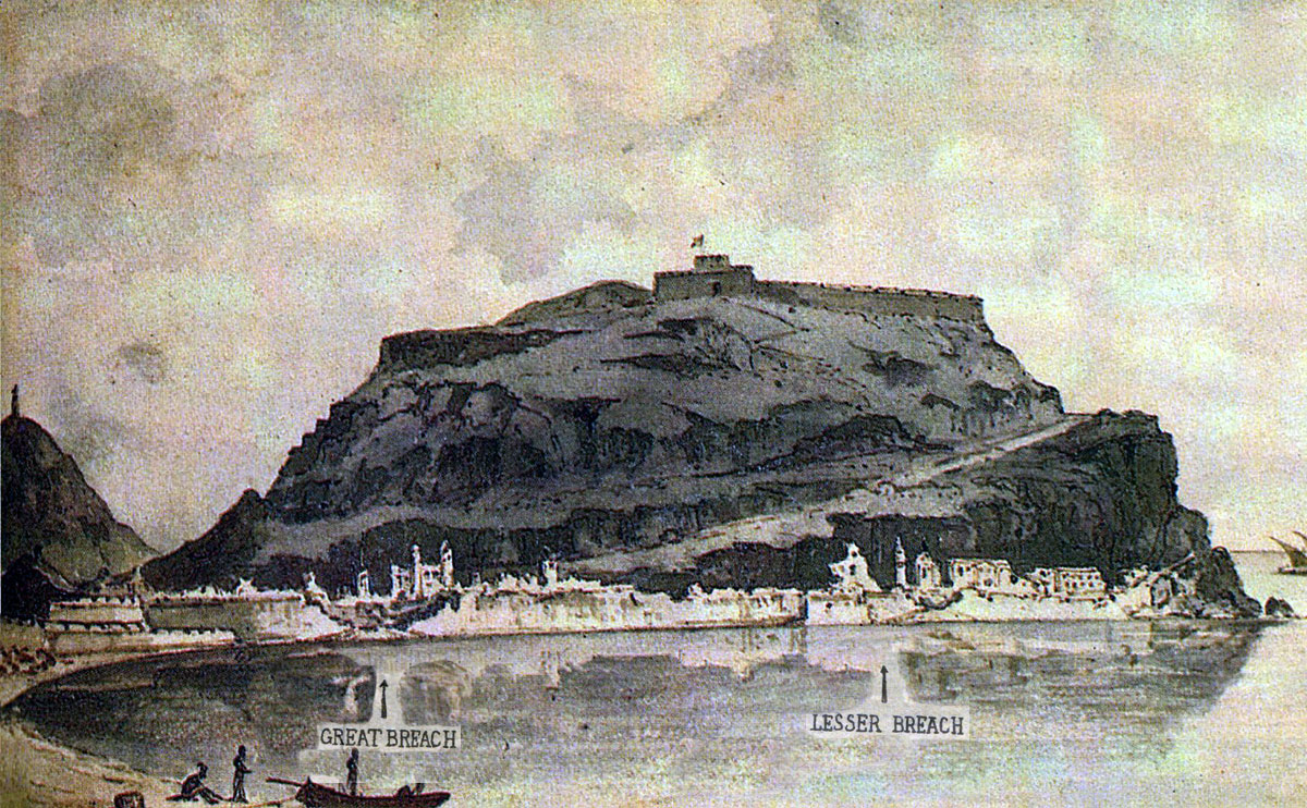 Contemporary picture of San Sebastian showing the Great Breach and the Lesser Breach after the Storming of San Sebastian between 11th July and 9th September 1813 in the Peninsular War: picture by Edward Heath