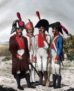 Spanish infantry: Battle of the Pyrenees fought between 25th July and 2nd August 1813 in the western Pyrenees Mountains, during the Peninsular War: picture by the Suhls