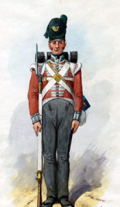 51st Regiment: Battle of the Pyrenees fought between 25th July and 2nd August 1813 in the western Pyrenees Mountains, during the Peninsular War: picture by Richard Simkin