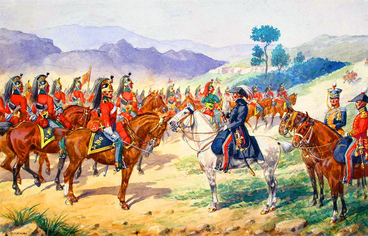 5th Dragoon Guards pass Lord Wellington: Battle of Salamanca on 22nd July 1812 during the Peninsular War, also known as the Battle of Los Arapiles or Les Arapiles: picture by Richard Simkin