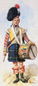 Drummer of 92nd Gordon Highlanders: Battle of the Pyrenees fought between 25th July and 2nd August 1813 in the western Pyrenees Mountains, during the Peninsular War: picture by Richard Simkin
