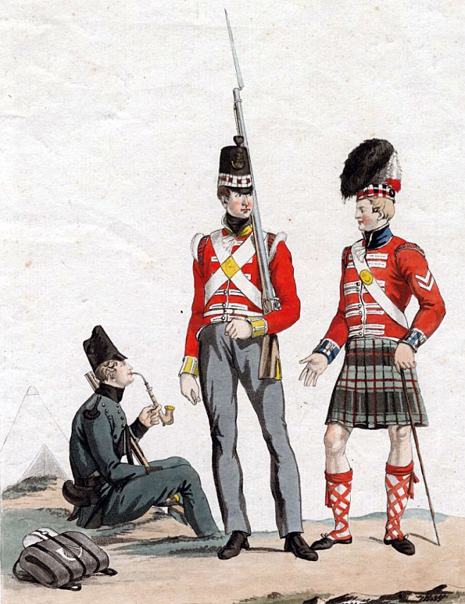 Soldiers of the 95th Rifles and 71st Highland Light Infantry and corporal of the 79th Cameron Highlanders: Battle of the Pyrenees fought between 25th July and 2nd August 1813 in the western Pyrenees Mountains, during the Peninsular War