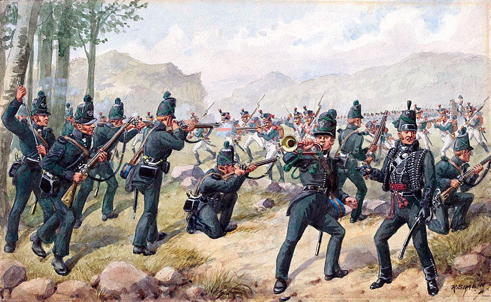 95th Rifles in the Battle of the Pyrenees fought between 25th July and 2nd August 1813 in the western Pyrenees Mountains, during the Peninsular War: picture by Richard Simkin