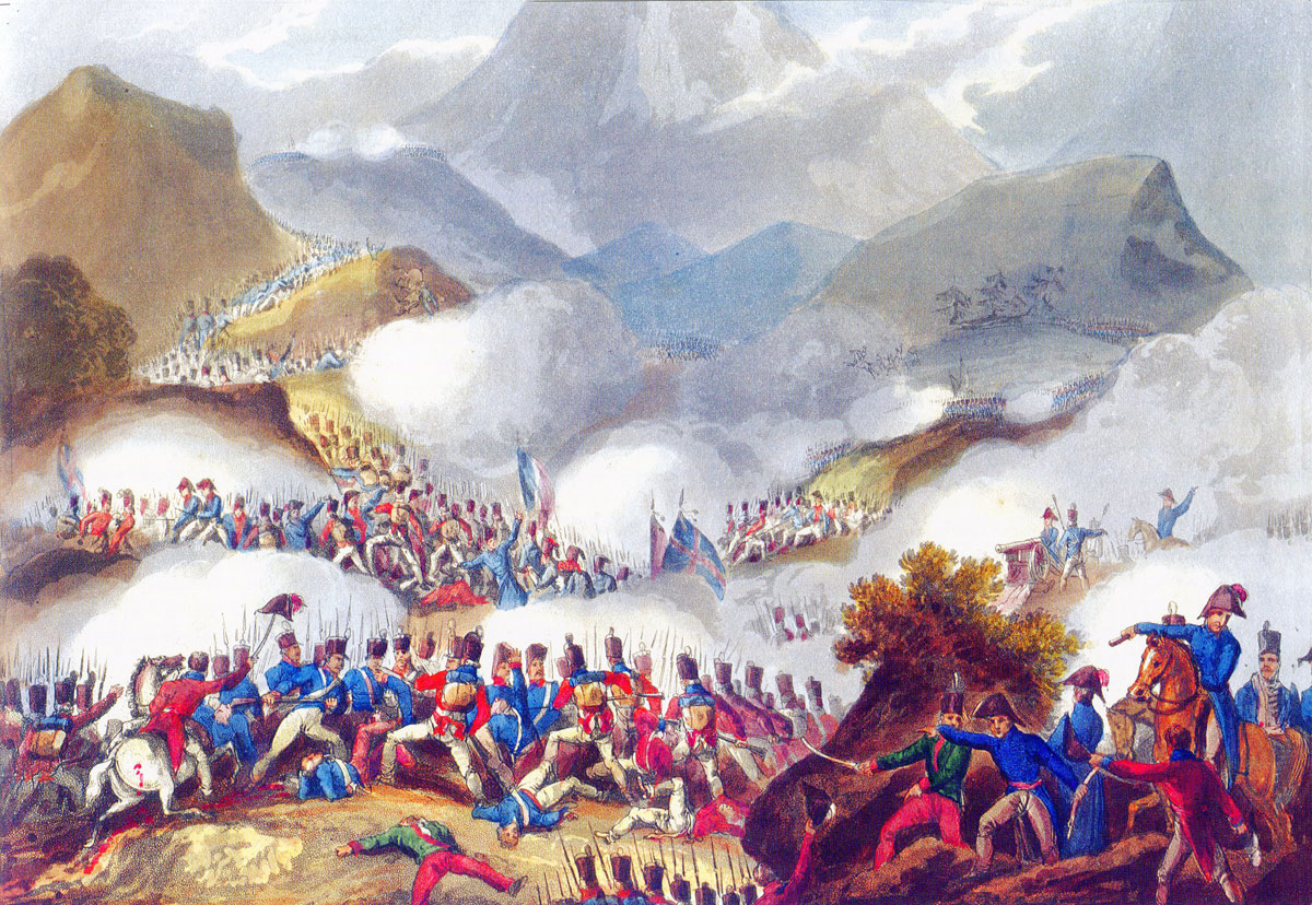 Battle of the Pyrenees fought between 25th July and 2nd August 1813 in the western Pyrenees Mountains, during the Peninsular War: picture by J.J. Jenkins